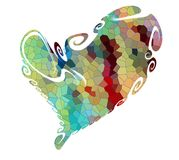 Heart. Valentine love design in vivid hues on white background Stock Photo