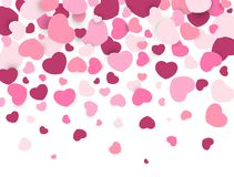 Heart valentine. Pink heart shape confetti on white background. Valentine`s Day background. Vector illustration.  Royalty Free Stock Photo