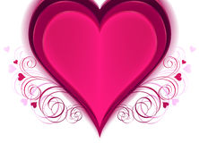 Heart for valentine's day. Pink heart with floral.  illustration Stock Photography