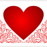Heart for Valentine's Day with floral Borders. Stock Image