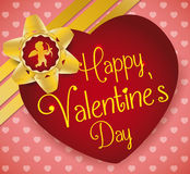 Heart with Valentine's Day Message and Golden Bow and Ribbons, Vector Illustration Stock Images
