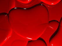 Heart on Valentine's Day. On red background. 3D render Stock Images