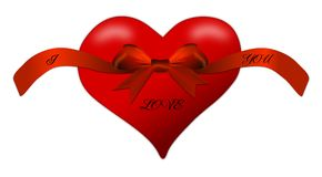 Heart for a Valentine's Day with red bow Stock Photos