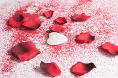 Heart for valentine's day and rose leafs Stock Photography