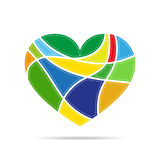 Heart for Valentine`s day. Vector illustration. Colored heart for the Valentine`s day. Abstract heart on white background in flat design. Vector illustration Royalty Free Stock Photo