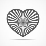 Heart for Valentine`s day. Vector illustration. Gray heart for the Valentine`s day. Abstract heart with sun rays, on white background in flat design. Vector Royalty Free Stock Photography