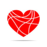 Heart for Valentine`s day. Vector illustration. Red heart for the Valentine`s day. Abstract heart on white background in flat design. Vector illustration Royalty Free Stock Photo