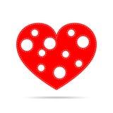 Heart for Valentine`s day. Vector illustration. Red heart for the Valentine`s day. Abstract heart on white background in flat design. Vector illustration Stock Photos