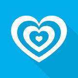 Heart for Valentine`s day. Vector illustration. White heart for the Valentine`s day. Abstract heart with long shadow on blue background in flat design. Vector Royalty Free Stock Photo