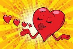 Heart Valentine sends a kiss Stock Photos