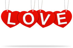 Heart valentine tag label. With Corrugated paper craft on white background Stock Photography