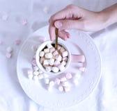 Heart.Valentines构成 妇女的手和杯子巧克力热饮用蛋白软糖,在白色桌背景 冬天 图库摄影