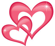 Heart for Valentines day. Two red hearts for Valentines day and love Royalty Free Stock Photos