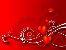 Heart Valentines Day background. Background with red hearts, spots and ribbons Royalty Free Stock Photos
