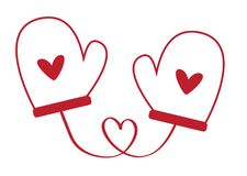 Heart Valentines Day Heart Mittens Royalty Free Stock Images