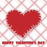 Heart. Valentines Day, a red heart on a plaid background Stock Image