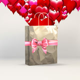 Heart valentines, greeting template, gift packing ribbon on gift paper grocery bag, Stock Photos