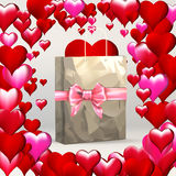 Heart valentines, greeting template, gift packing ribbon on gift paper grocery bag Royalty Free Stock Photography