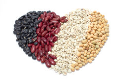 The heart of varieties of beans on white background, Job Tear, S Stock Photo