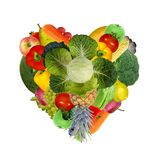 Heart from various fruits and vegetables royalty free stock image