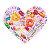 Heart from various watercolor sewing tools. Sewing kit
