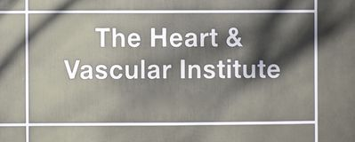Heart and Vascular Institute. The Heart and Vascular institute offers the full spectrum of heart care, from noninvasive cardiology to adult heart transplantation Stock Photo