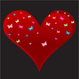 Heart vector with butterfly vector illustration