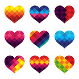 Heart vector design with colorful design concept. Vector Illustration of colorful hearts stock illustration