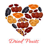Heart of vector dried fruits snacks Royalty Free Stock Photo