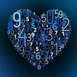 Heart vector font from numbers Stock Images