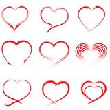 Heart-01. Vector Heart shape frame with brush painting isolated on white background vector illustration