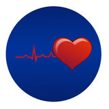 Heart. Vector illustration; Cardiogram with red heart shape icon on blue background. Can be used to promote and advertise Stock Photo