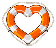 Heart vector isolated lifebuoy. Vector lifebuoy in the shape of a heart sign is a symbol of care, love, feelings Royalty Free Stock Photos