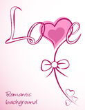 Heart vector love pink flower. Card Royalty Free Stock Image