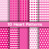 10 Heart vector seamless patterns. Pink and white colors. For Valentines day background stock illustration