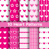 10 Heart vector seamless patterns. Pink and white colors. For Valentines day background vector illustration