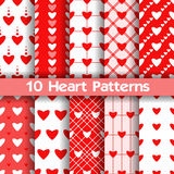 10 Heart vector seamless patterns. Red and white colors. For Valentines day background Royalty Free Stock Photos