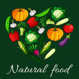 Heart vegetables flat icons. Natural food emblem Stock Photos