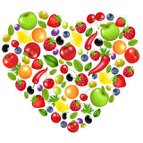 Heart From Vegetables And Fruit Royalty Free Stock Image