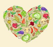 Heart from vegetables Stock Images