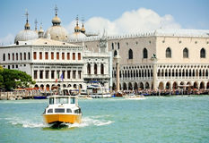 In the heart of venice. The view from the water of st. mark's square and doge's palace Stock Images