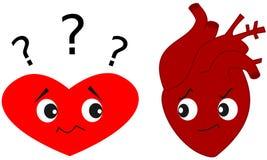 Heart versus real human heart cartoon illustration Stock Image