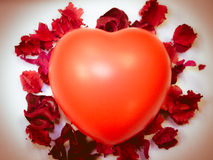 Heart vintage. Background with red leaf Stock Photography