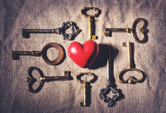 Heart with vintage keys Stock Image