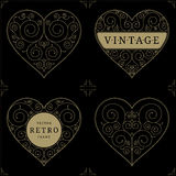 Heart vintage luxury logo template set Royalty Free Stock Photography