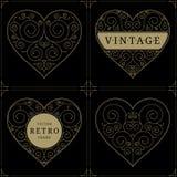Heart vintage luxury logo template set Royalty Free Stock Photography