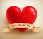 Heart with vintage paper banner Stock Image