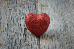 Heart on Vintage Wood Background Stock Photos