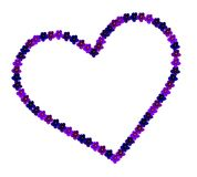 Heart with violet flowers. Heart with outline of violet plant flowers and white background royalty free stock image