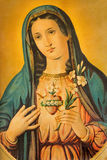 The Heart of Virgin Mary. Typical catholic printed image from the end of 19. cent. originally by unknown painter. Stock Photography